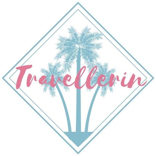 Logo für Blog travellerin.de zeigt türkise Palme