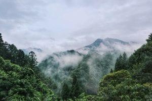 Berge und Wolken auf den Weg nach Koyasan