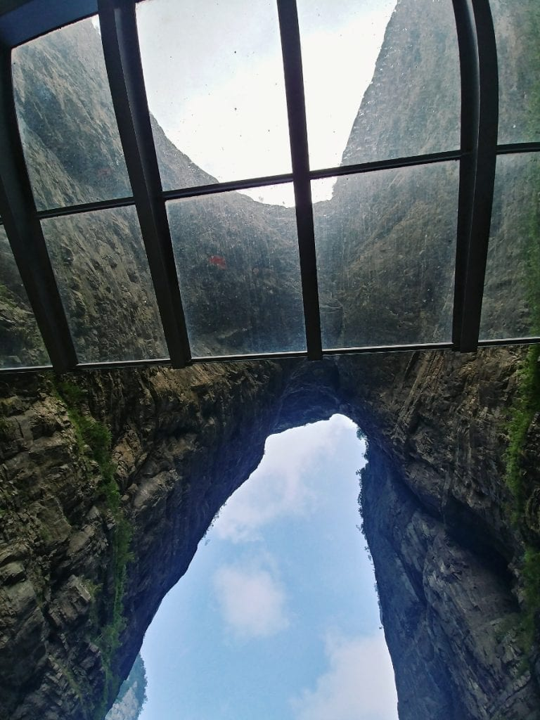 Blick nach oben Tianmen Cave
