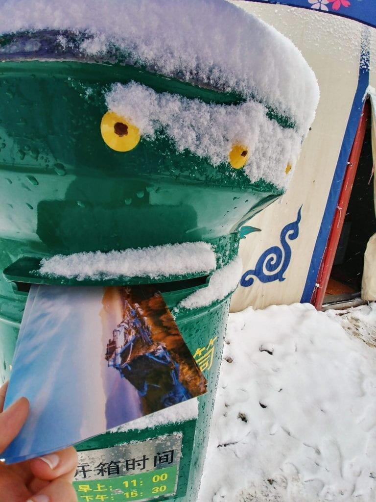 Postkarte im Mount Everest Basecamp