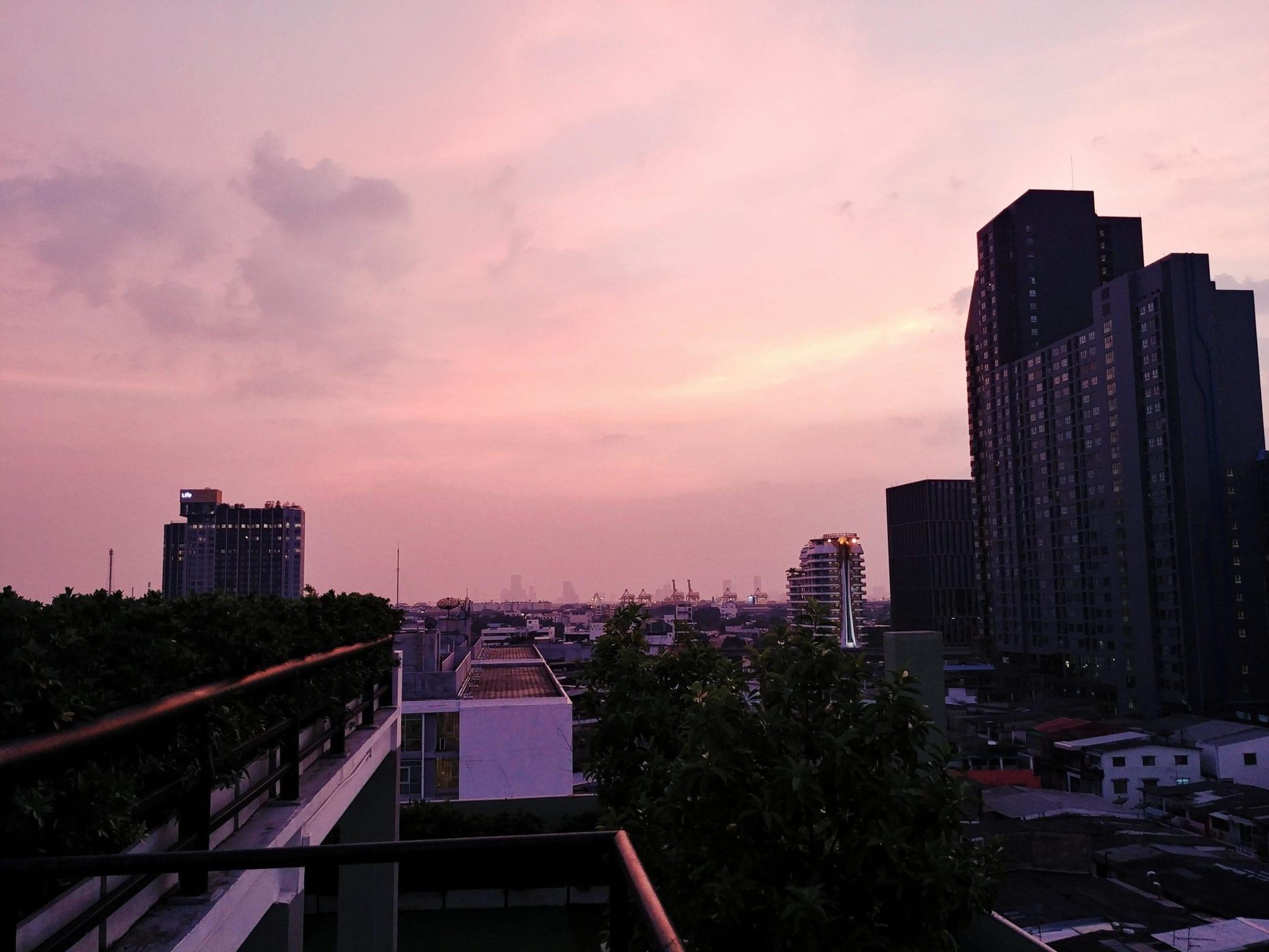 Sonnenuntergang vom Romance Hotel in Bangkok