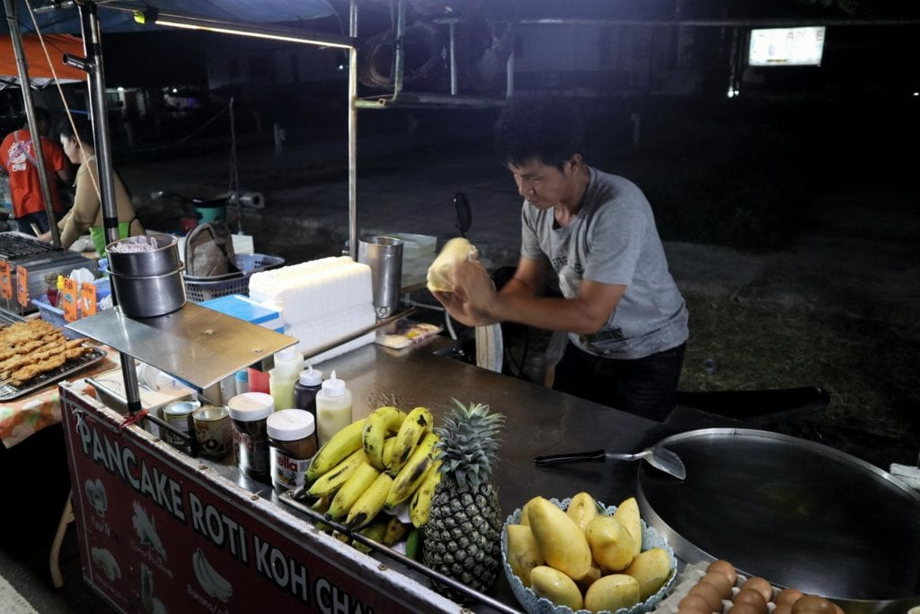 Herstellung Thai Banana Pancake Thailand
