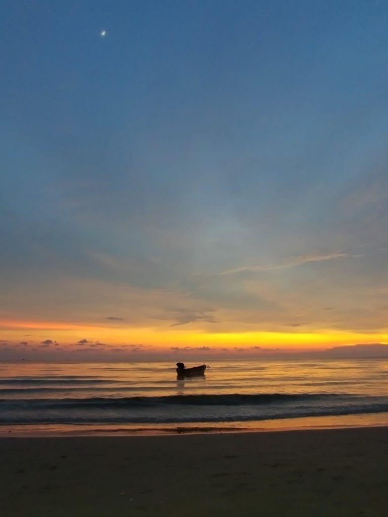 Sonnenuntergang Boot Whitesandy Beach