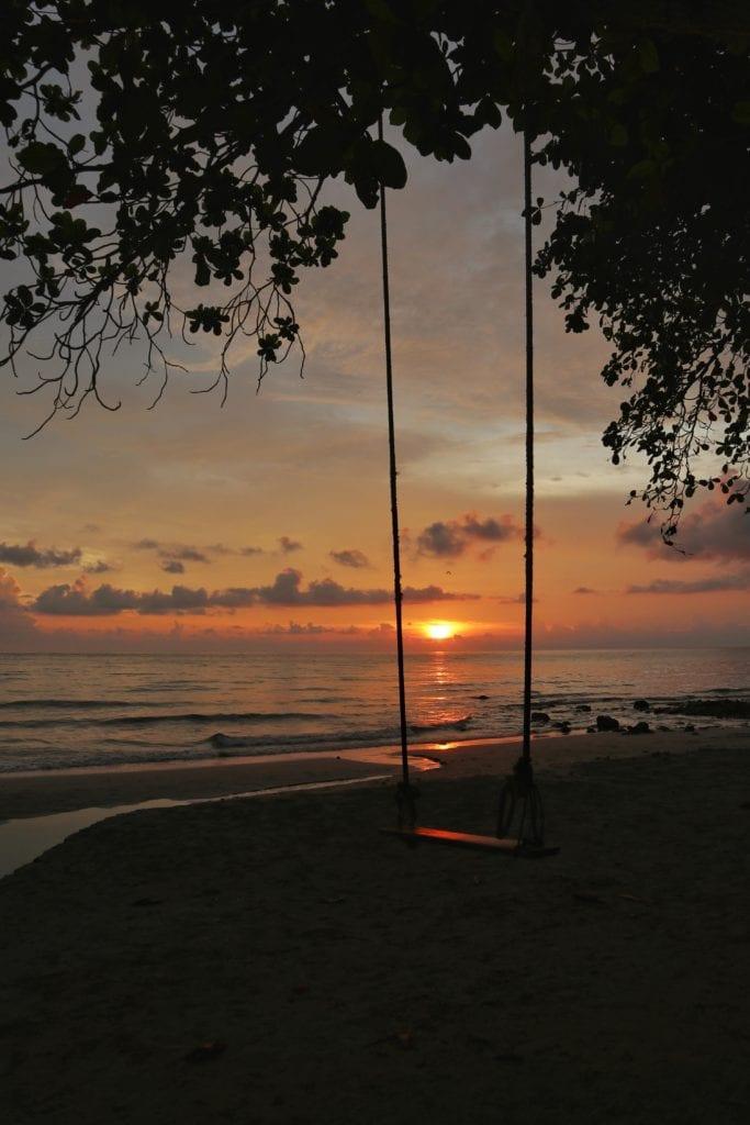 Sonnenuntergang Schaukel Whitesandy Beach