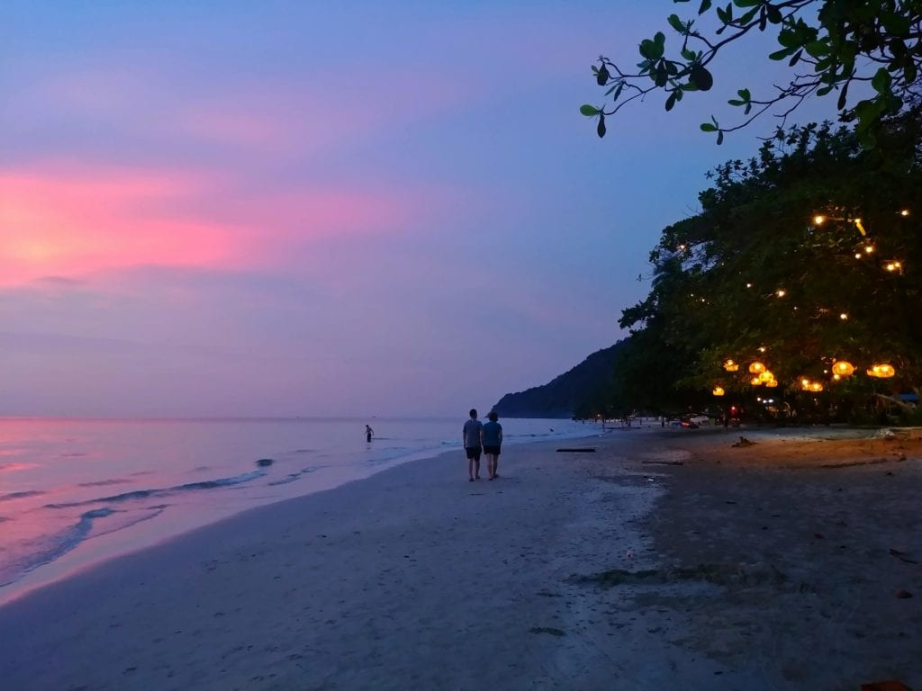 Sonnenuntergang Strandrestaurant Whitesandy Beach Koh Chang