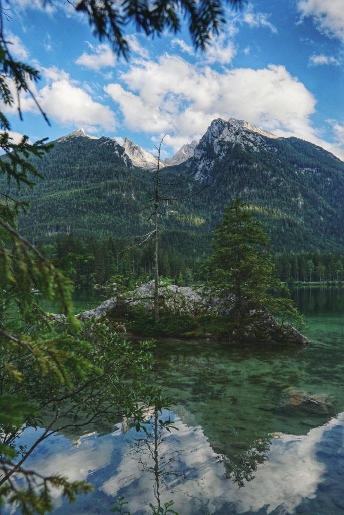 Baum auf Felsen im Hintersee Bayern