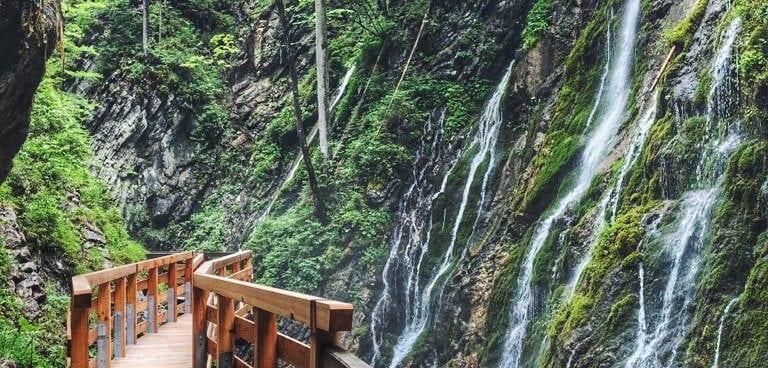 Wimbachklamm Steg und Wasserfälle