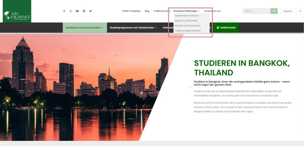 Screenshot Tipps von Studenten_Asia Exchange