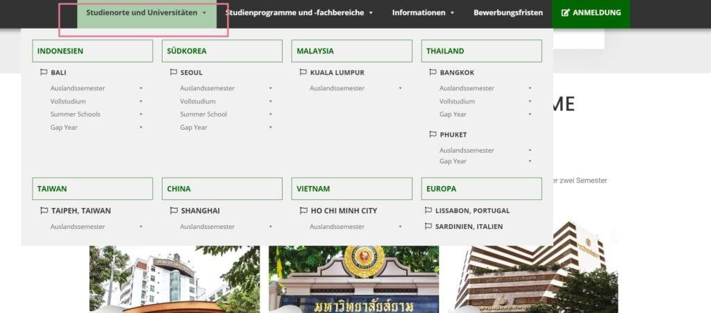 Screenshot Uniauswahl Asia Exchange