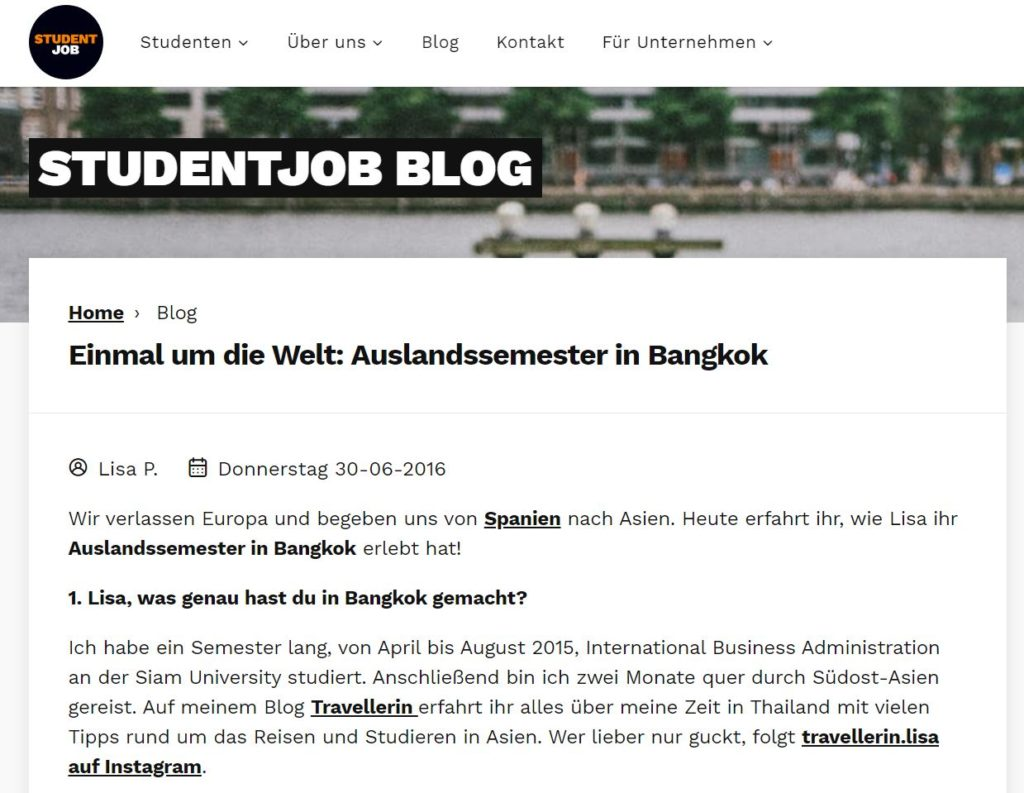 Studentjob Interview mit Travellerin