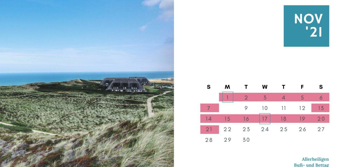 Brückentage 2021 Kalender_November