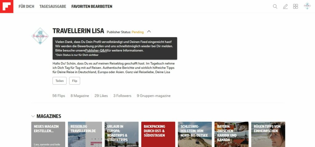 Flipboardprofil von Travellerin Lisa
